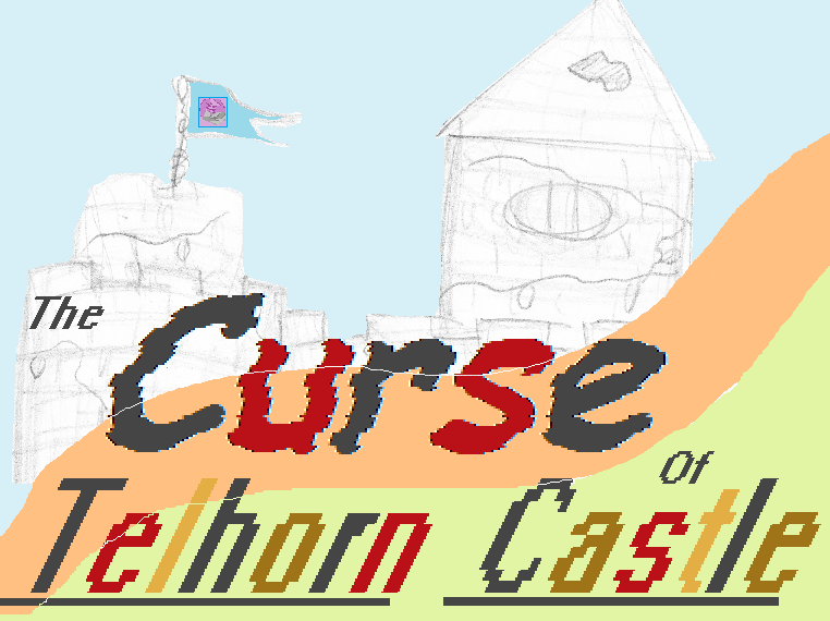 THE CURSE OF TELHORN CASTLE logo (drawing of castle walls with flag flying)